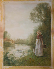 Girl by the River Watercolour