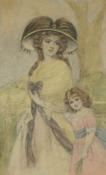 Mother and Child - Original Early 20th Century Watercolour Painting