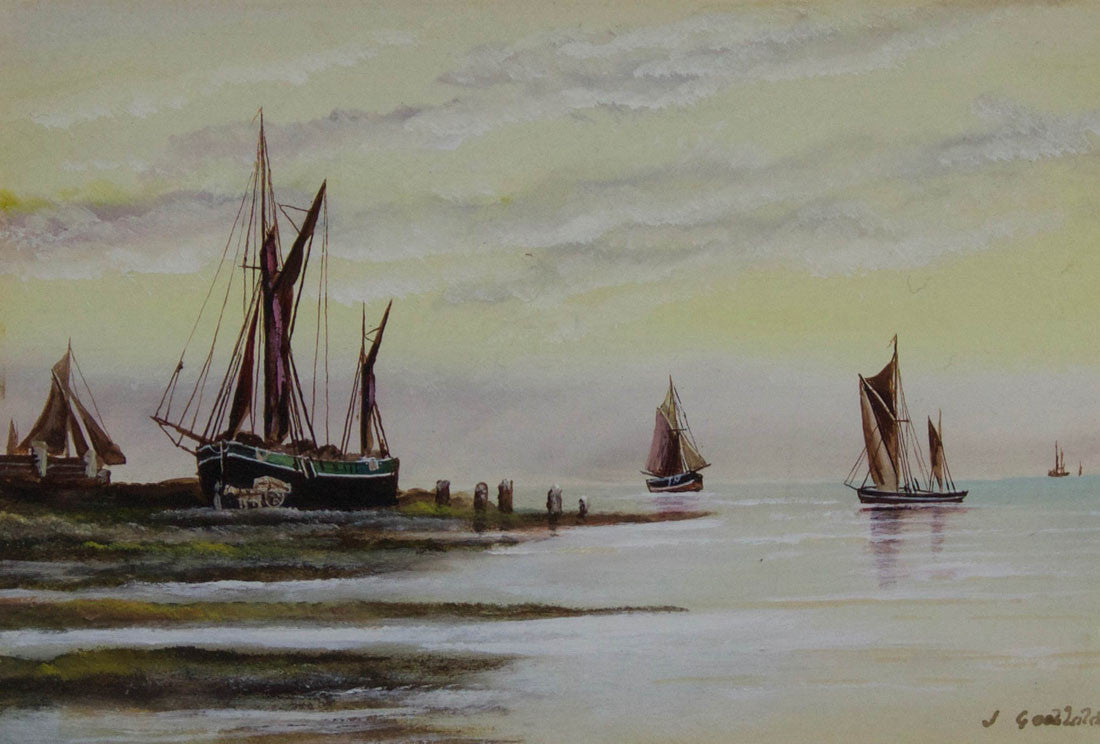 J. Godbold - Sailboats in Harbour, Mid 20th Century Watercolour Painting