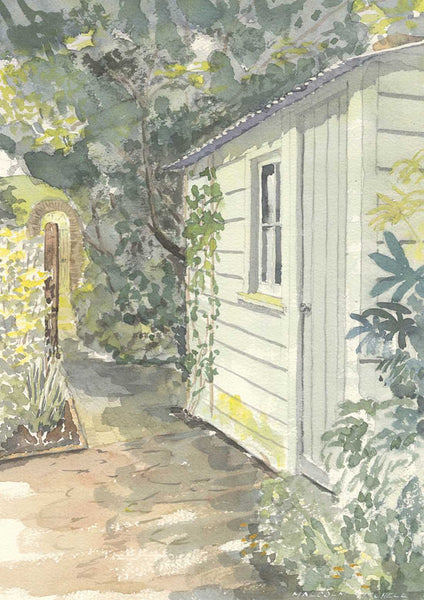 Malcolm Mitchell - The Garden Shed, 1994 Original Watercolour Painting