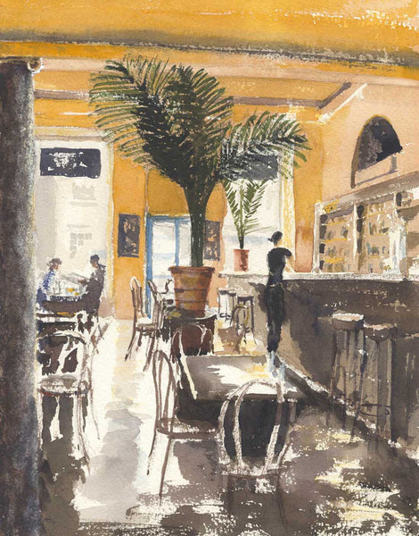 Malcolm Mitchell - Continental Cafe, Contemporary Watercolour