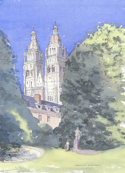 Tours Cathedral - Malcolm Mitchell, Original 2005 Watercolour Painting