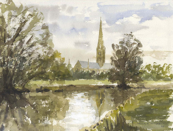 Malcolm Mitchell - Salisbury Cathedral, 1995 Original Watercolour