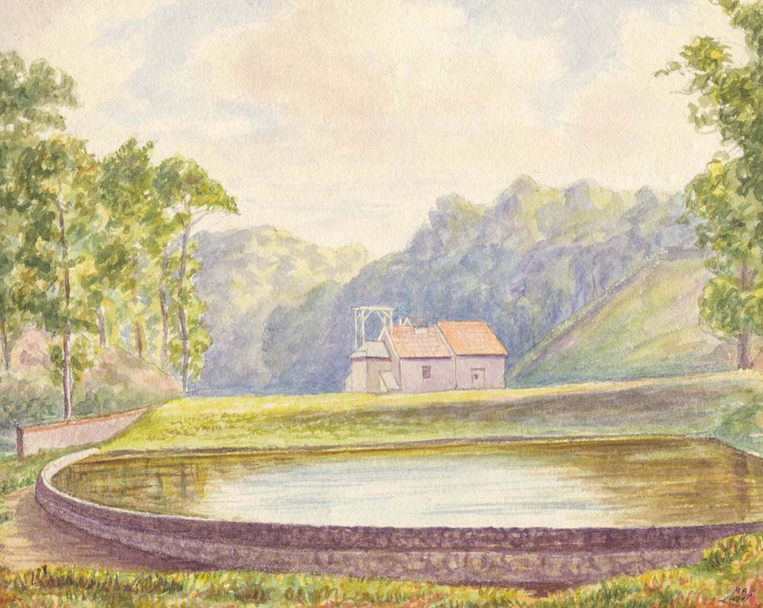 M.F.S - Millbrook Valley, Jersey, 1884 Watercolour