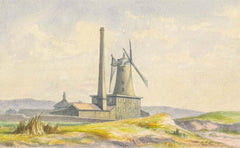 M.F.S - Windmill at Bel-Royal, Jersey, 1885 Watercolour