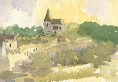 Malcolm Mitchell - Village Church, Contemporary Watercolour