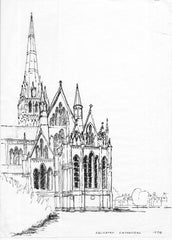 Salisbury Cathedral, Pen and Ink Drawing