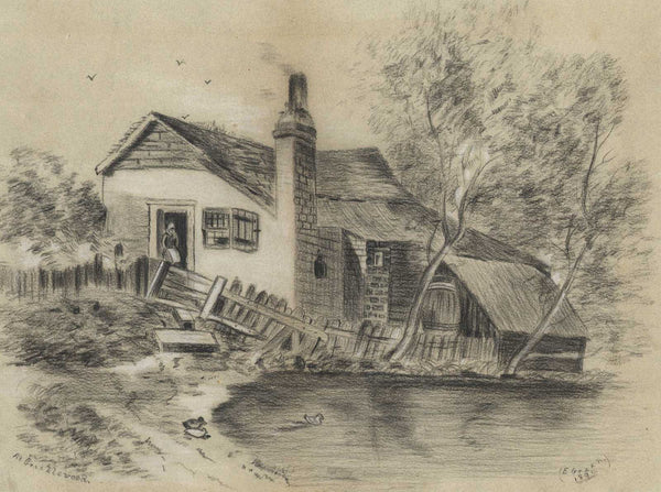 E. Green - At Cricklewood, Original 1896 Charcoal Drawing