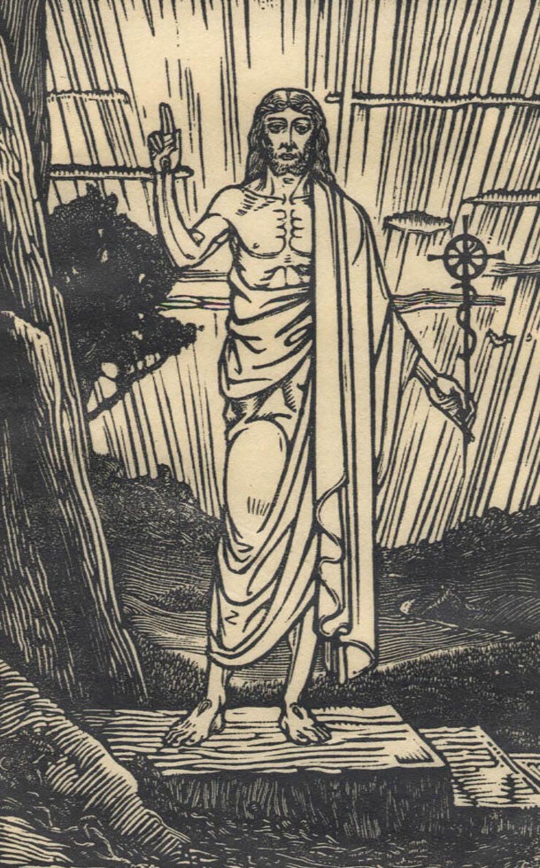 Gabriel Pippet - Blessing Christ, Early 20th Century Woodcut