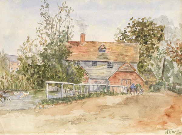 Harriet Ward - Farmhouse with Ducks, 1895 Original Watercolour