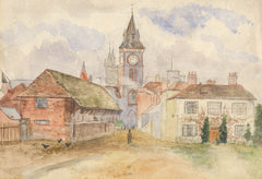 Clock Tower - Early 20th Century Watercolour