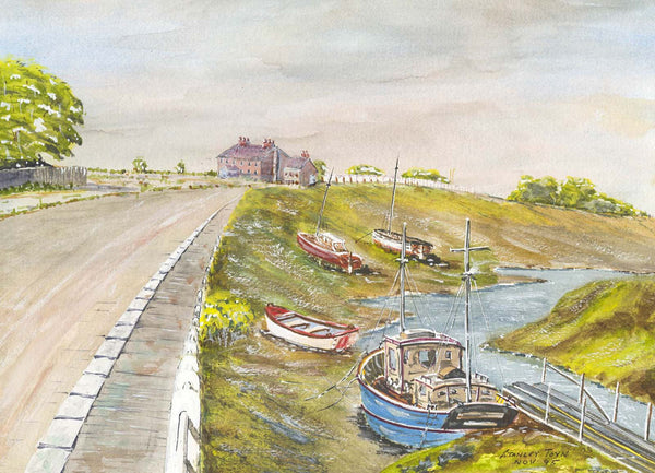 Stanley Toyn - Boats Near Cannington, Somerset, Original 1995 Watercolour Painting