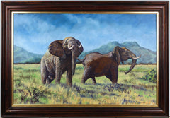 Mark Hankinson - Elephants, Contemporary Oil