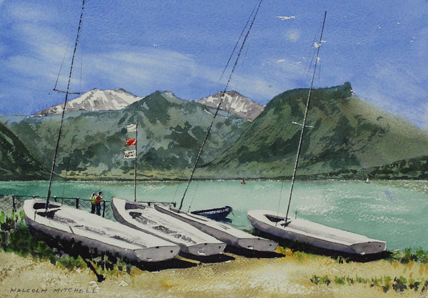 Malcolm Mitchell  - Lake Annecy, 2001 Original Watercolour Painting