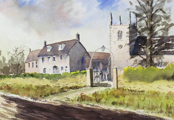 Malcolm Mitchell  - Cotswold Village, Original 1998 Watercolour Painting