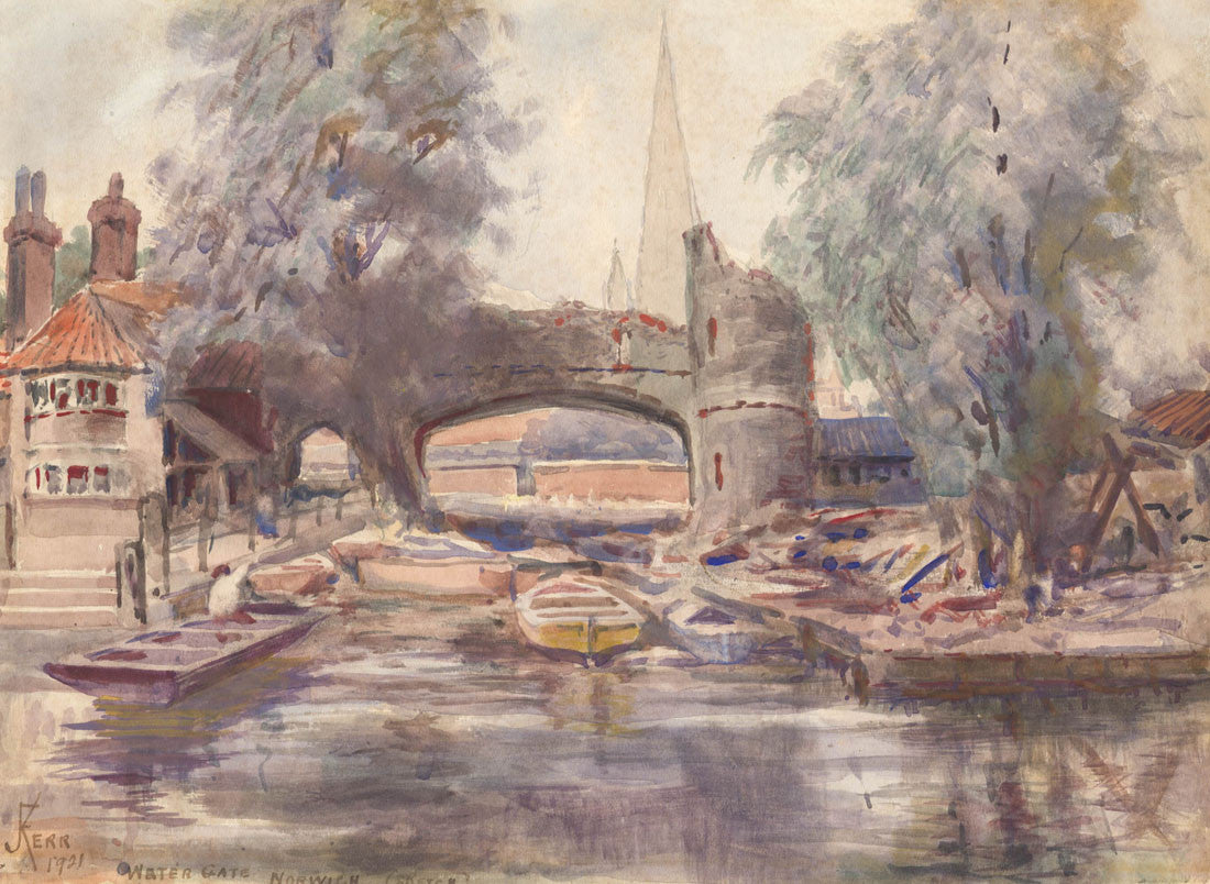 Frederick James Kerr - Water Gate, Norwich, 1921 Watercolour Painting
