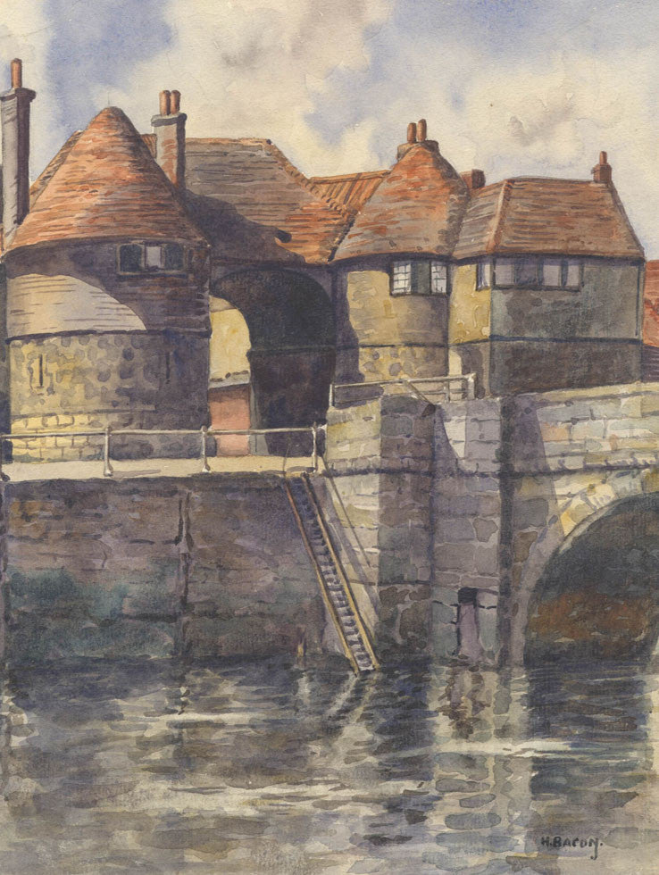 H. Bacon - Barbican Gateway, Sandwich, Early 20th Century Original Watercolour Painting
