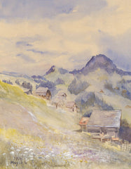 F. M. W - Cabins, Original 1931 Watercolour Painting