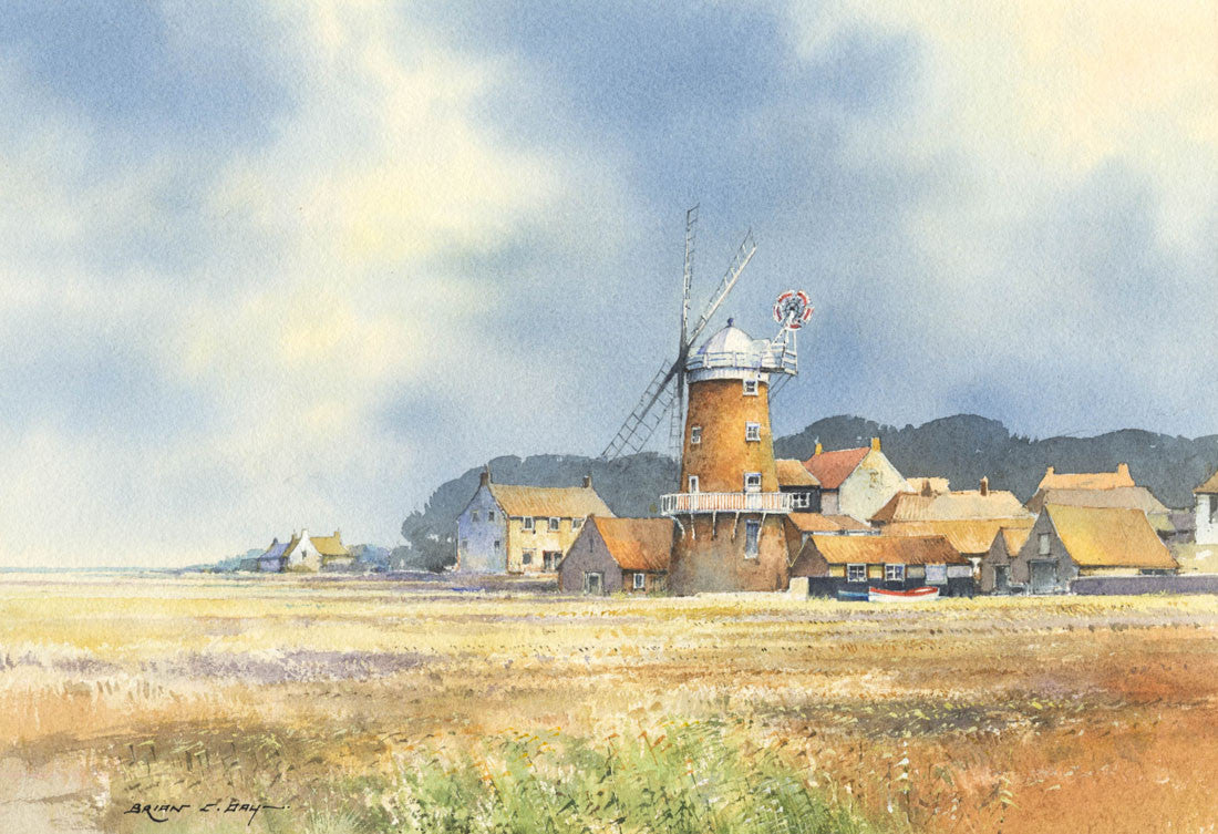 Brian C. Day - Cley Windmill, Contemporary Watercolour