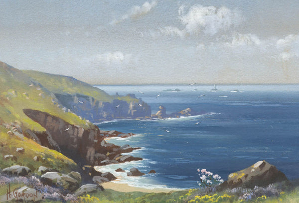 Lands End, Cornwall - H. Gordon, Original Early 20th Century Gouache Painting