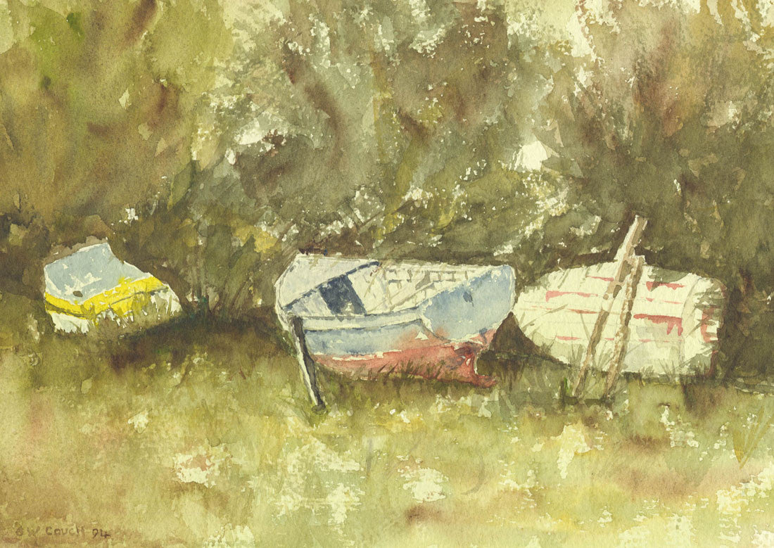 Gordon Couch - Boats, 1994 Original Watercolour Painting