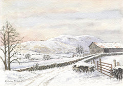 Winter on the Farm - Diana Mead, Original Watercolour Painting