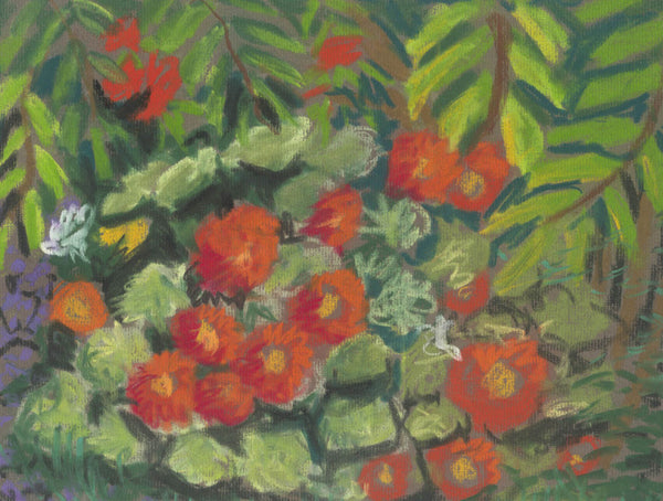 Cecil Riley - Flowers, Original Contemporary Pastel Drawing