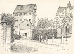 David William Burley - Set of 3 Drawings of Buildings, Mid 20th Century Pen and Ink