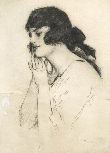 William Henry Margetson - Deep In Thought, 19th Century Etching