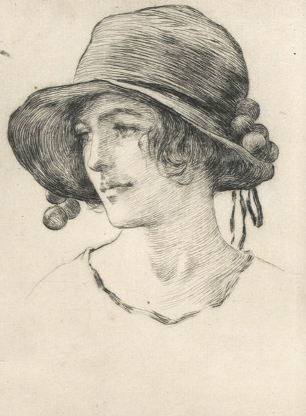 William Henry Margetson - Lady in a Hat, 19th Century Etching