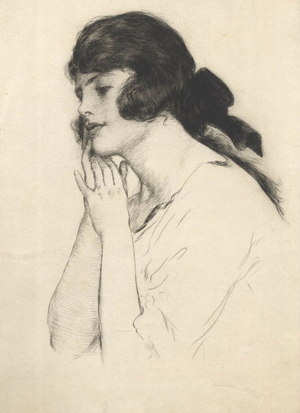 William Henry Margetson - Thoughtful Pose, 19th Century Etching