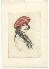 William Henry Margetson - Lady in a Red Hat, 19th Century Etching