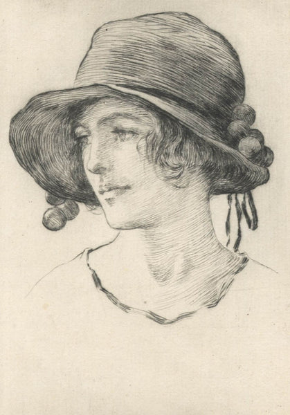 William Henry Margetson - Female Portrait, 19th Century Etching