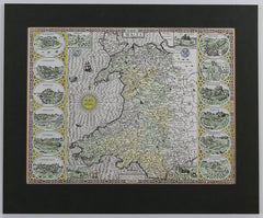 Map of Wales - Contemporary Lithograph