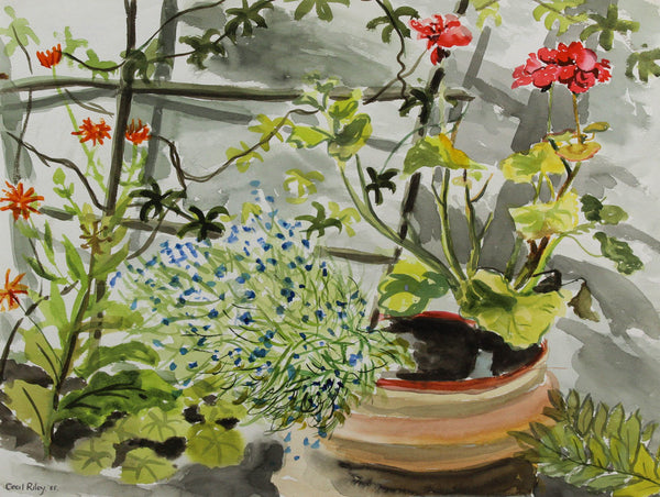 Cecil Riley - Pot Plants, 1985 Original Watercolour Painting