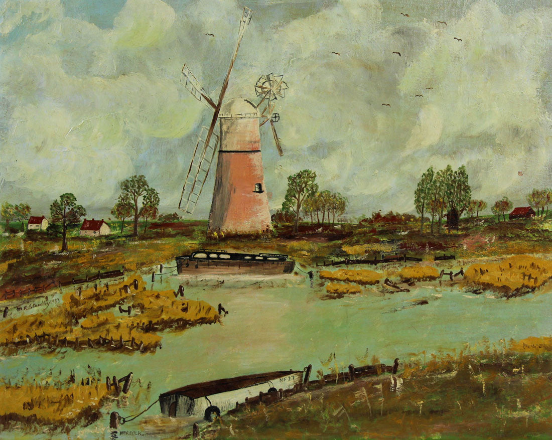 Windmill, Norfolk - 1983 Original Oil Painting