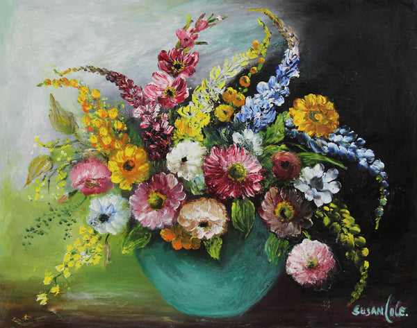 Susan Cole - Vibrant Flowers, Mid 20th Century Original Oil