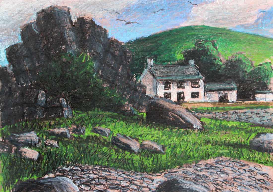 Cecil Riley - Cornish Cottage, Original 2002 Pastel Drawing