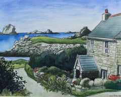 Cecil Riley - Cottage, Bryher, 1994 Original Mixed Media Painting