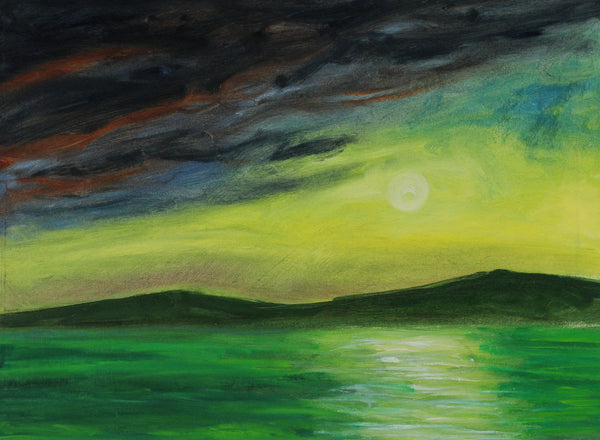 Cecil Riley - Moonlit Seascape, Contemporary Original Acrylic Painting