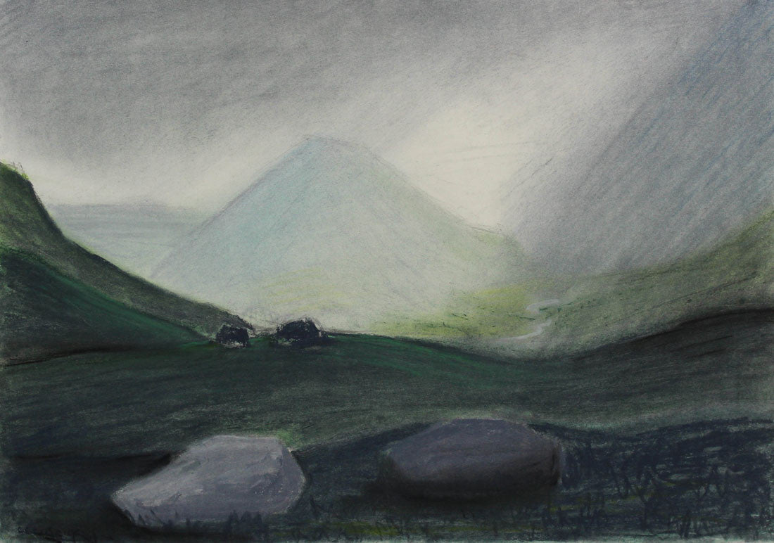 Cecil Riley - Misty Mountains, 1981 Pastel