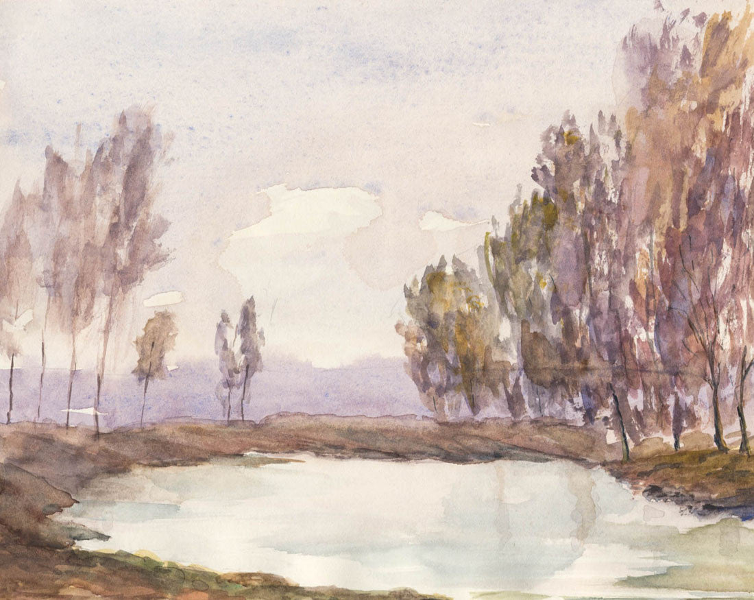 Norah Perry - Quiet Pond, 1986 Original Watercolour Painting