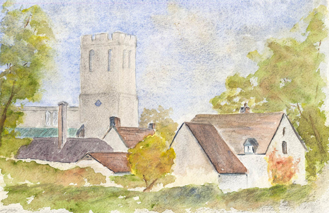 Norah Perry - Village Church, Contemporary Original Watercolour Painting
