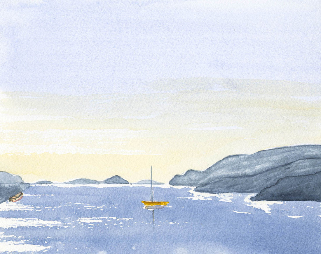 Norah Perry - Out to Sea, Contemporary Original Watercolour