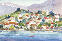 Norah Perry - Continental Town, Contemporary Watercolour