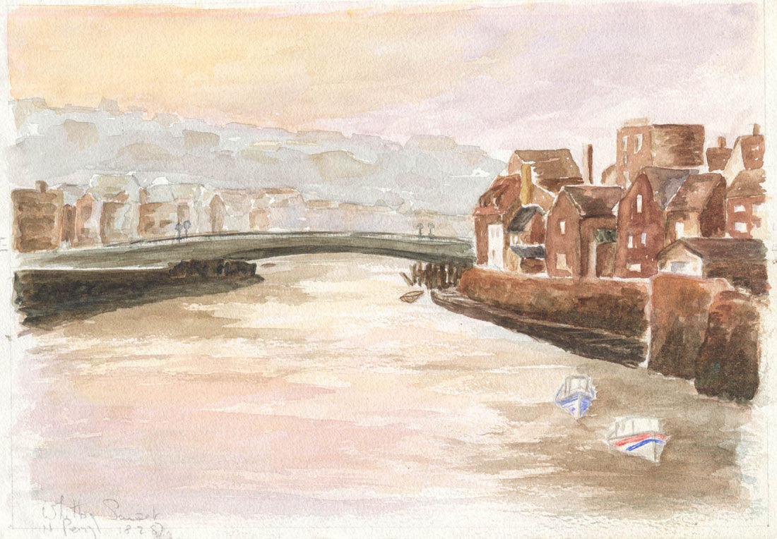 Norah Perry - Whitby Sunset, 1987 Original Watercolour Painting