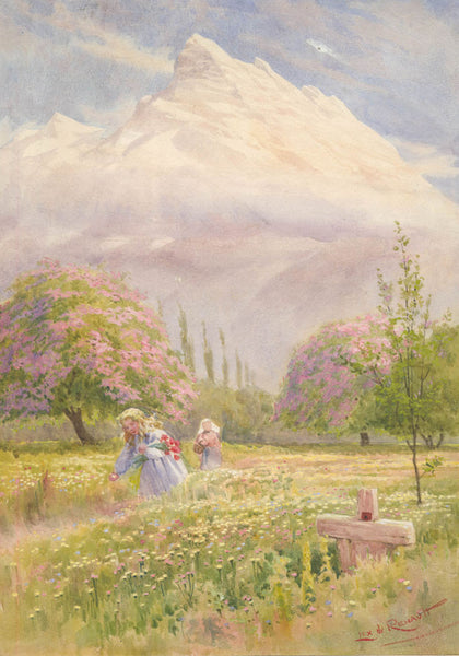 Lex de Renault - Picking Flowers, 19th Century Watercolour Painting