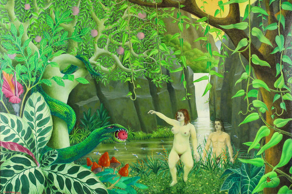 Adam and Eve - Cecil Riley, Original 1987 Oil Painting