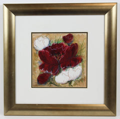 Sandra Cooper - Red Flower, Contemporary Original Mixed Media Painting