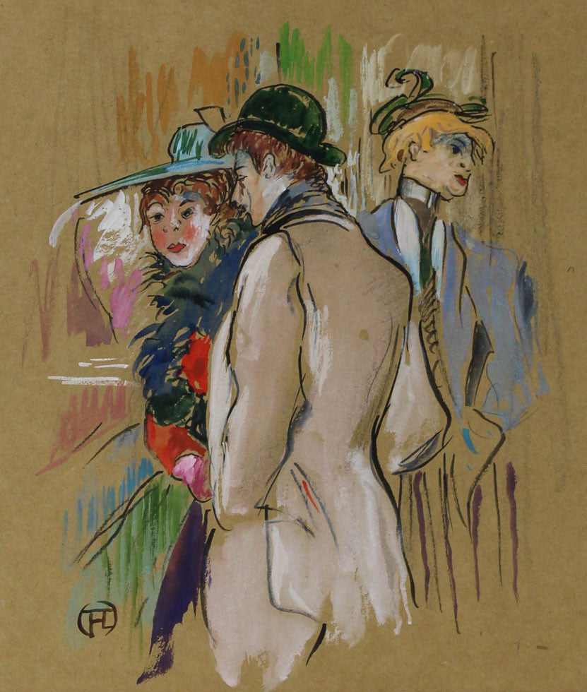 After Toulouse-Lautrec - A Conversation, Early 20th Century Gouache